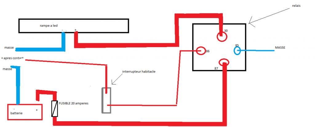 kit de branchement avec relais et fusible pour phares. Black Bedroom Furniture Sets. Home Design Ideas