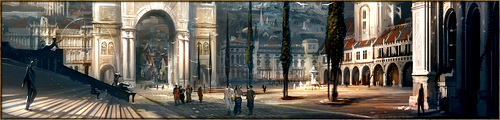 Vaste espace pavé d'un marbre couleur crème, la Grand'Place se situe au coeur du Kaerl. C'est un lieu de rencontre et d'échange, principalement grâce au motif de téléportation qui y est dessiné, représentant une dragonne d'or stylisée.