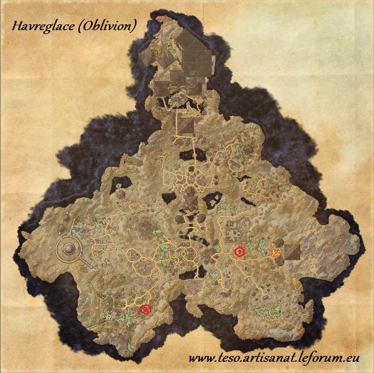 l 39 artisanat sur the elder scrolls online carte de