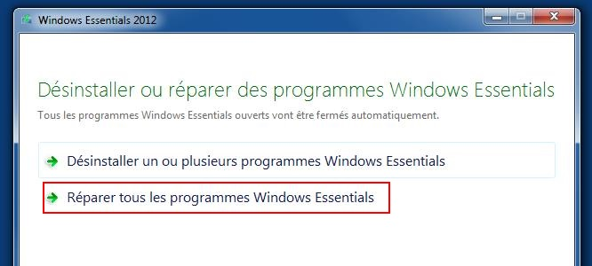 comment réparer windows live mail