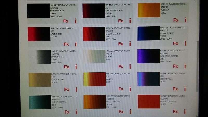 Forum Sportster Dossier Codes Peinture Teintes Harley Davidson