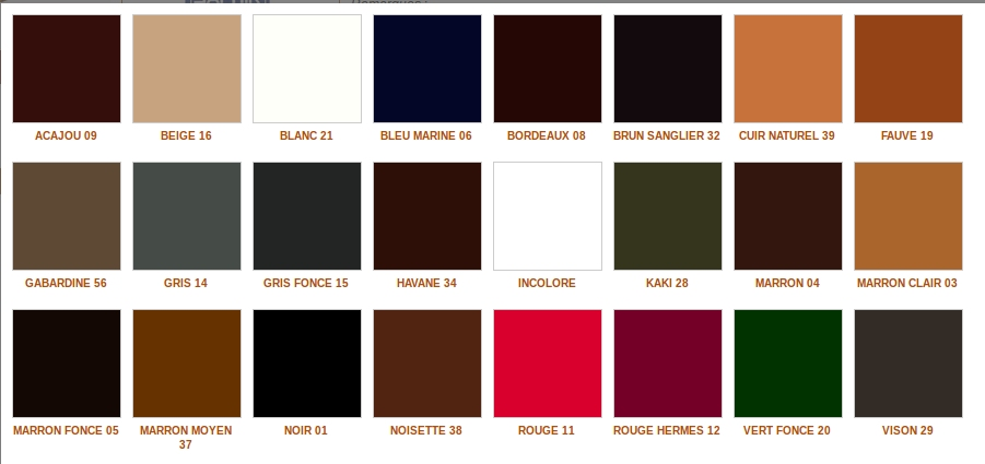 saphir cirage nuancier. Black Bedroom Furniture Sets. Home Design Ideas