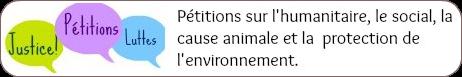 Bannière de pétition sur l'humanitaire, le social, la cause animale et la défense de l'environnement.