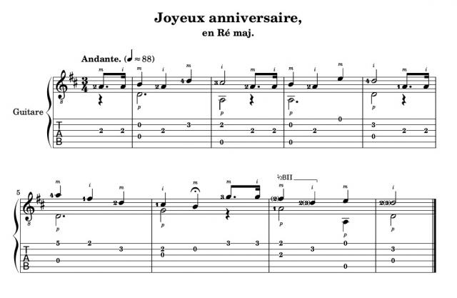 photo partition guitare facile joyeux anniversaire