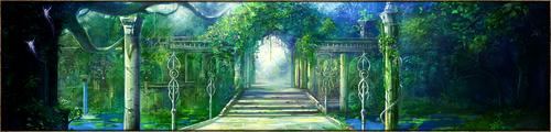 Elégante promenade pavée, bordée de bien mystérieuses et imposantes statues, serpentant à travers un jardin bien entretenu. Lieu privilégiant le calme et la détente, mais connu pour abriter secrètement en son sein les transactions du marché noir, principalement dans le secteur du belvédère.