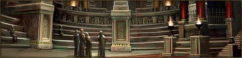 Vaste hémicycle pouvant accueillir tous les habitants du Kaerl ainsi que leurs Liés lors des assemblées et débats de l'Ordre. Cette enceinte est reliée à une pièce de taille moindre, où se tiennent généralement les réunions en comité restreint.