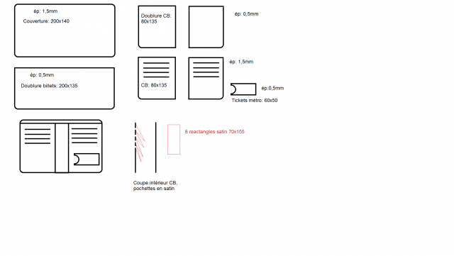 portefeuille et son patron. Black Bedroom Furniture Sets. Home Design Ideas
