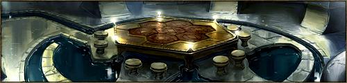 Vaste pièce ronde, richement décorée, où se tiennent les réunions, officielles comme officieuses, du Kaerl Englouti. La Dame y siège généralement avec ses conseillers les plus proches.