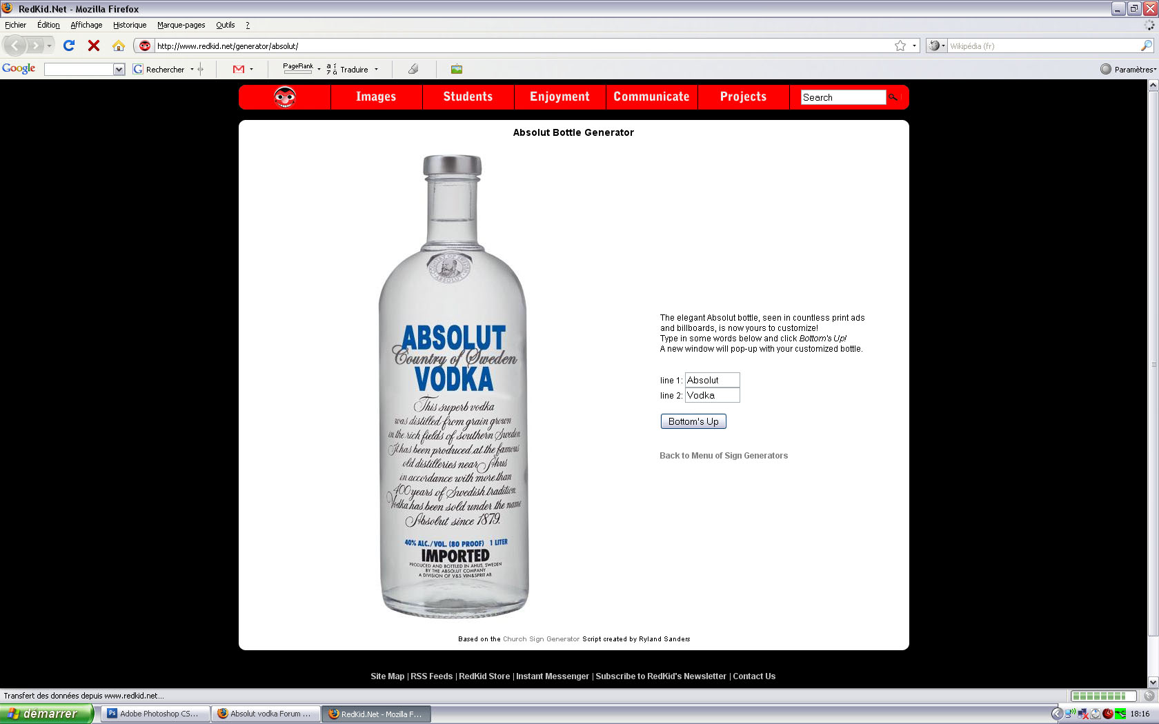 Absolut vodka Forum :: Absolut Bottle Generator