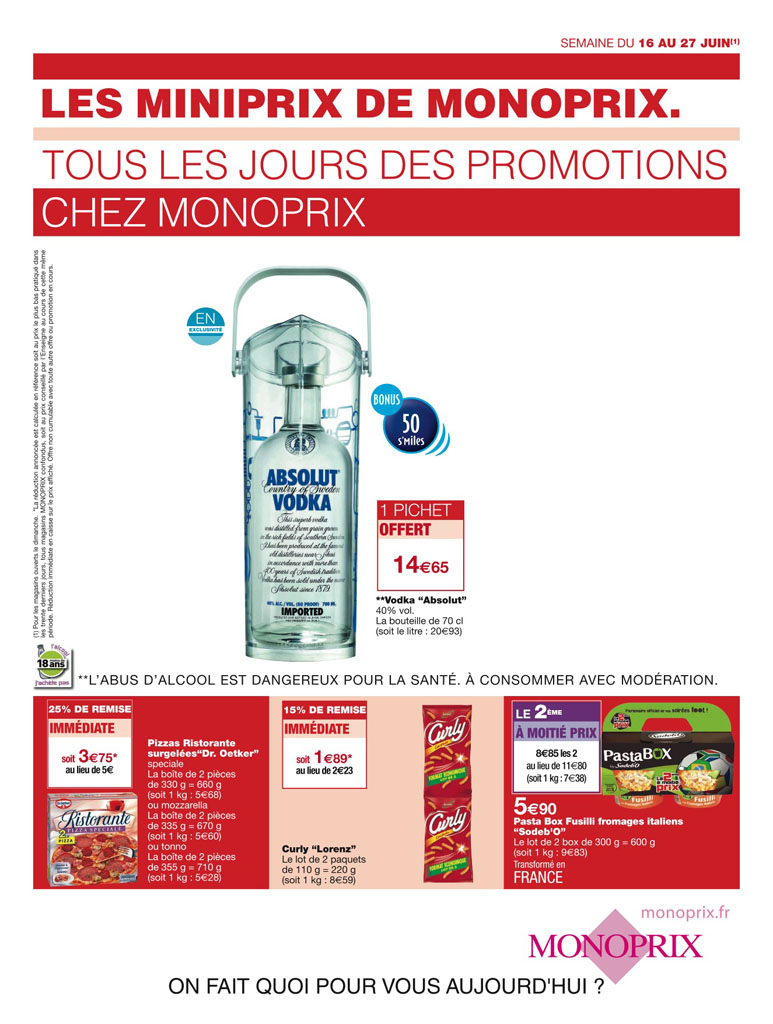 Absolut vodka forum absolut 4 x art of sharing aos french aos 20 - Monoprix france catalogue ...