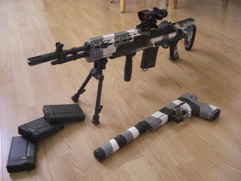 Airsoft M14 Ebr Custom Custom M14 Ebr Batterie M14 Ebr Silver