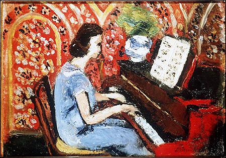 Petite pianiste robe bleue fond rouge