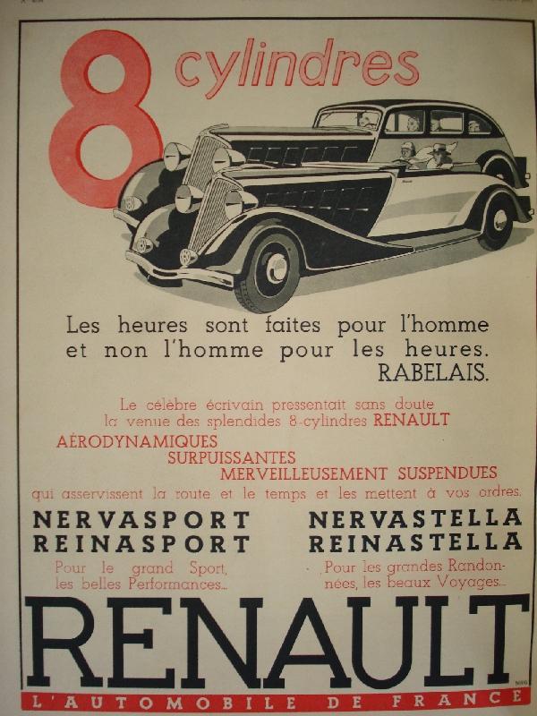 les renault d 39 avant guerre pub renault l 39 illustration 1934. Black Bedroom Furniture Sets. Home Design Ideas