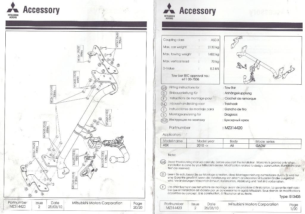 forum du mitsubishi asx peugeot 4008 citroen c4 aircross manuel de montage attelage. Black Bedroom Furniture Sets. Home Design Ideas