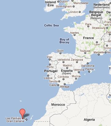 Iles des Canaries sur la carte du monde
