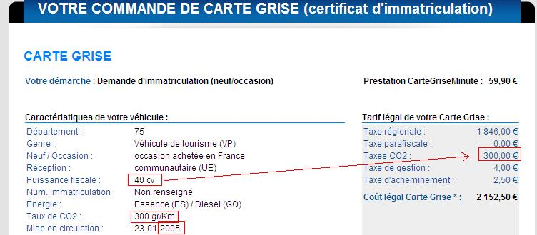 taxe co2 carte grise IMPORTER AUTO ET SPORTIVE DE LUXE :: Bonus / Malus