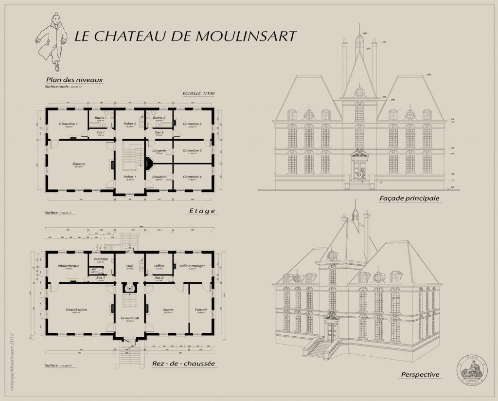 Les aventures de tintin plans du ch teau for Chateau blueprints