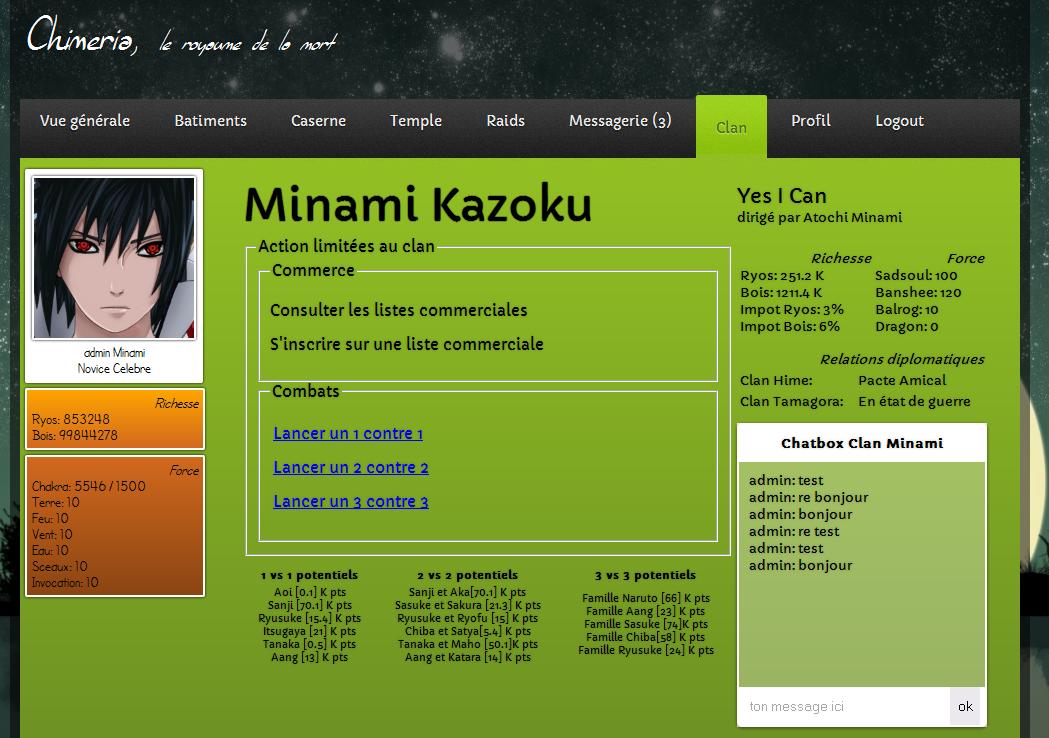 Screen onglet clan de chimeria V3D0 7M12  A2012