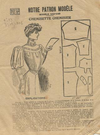patron couture robe 1900