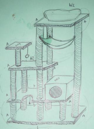 Au final a donne a pas proportionn mais tant pis ya l 39 id e en haut droite - Fabriquer un arbre a chat ...