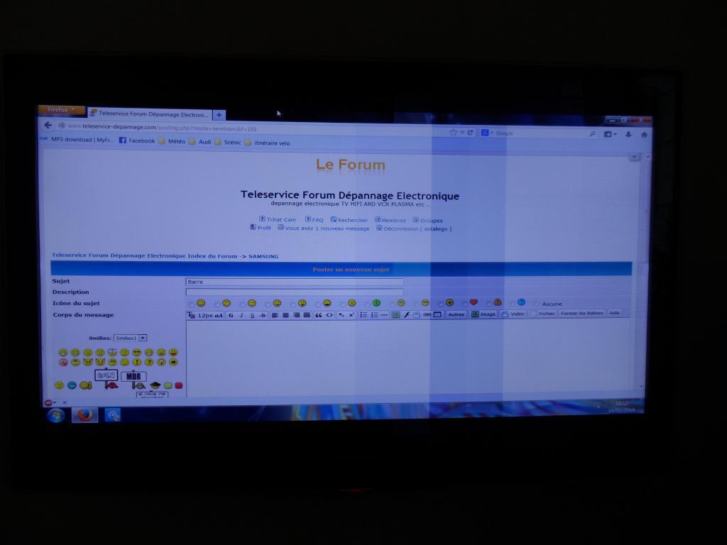 teleservice forum d pannage electronique barre verticale samsung ue40b6000. Black Bedroom Furniture Sets. Home Design Ideas
