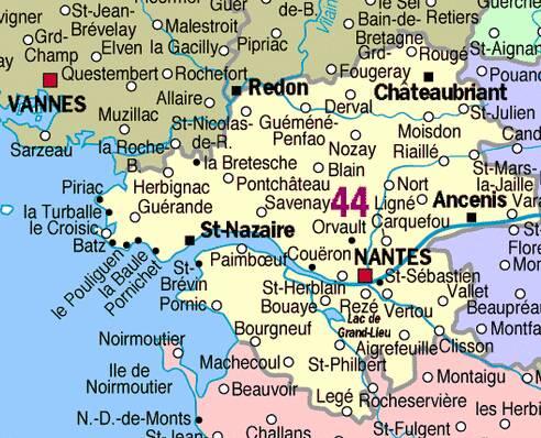 Carte Loire Atlantique Vendee.50 S Pour Toujours 44 Loire Atlantique